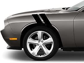 4 Inch Fender Hash Mark Bars Vinyl Rally Racing Stripes, Fits Dodge Challenger, Both Sides, Black