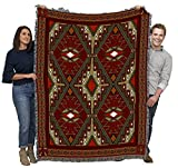 Trailwalker - Southwest Native American Inspired Tribal Camp - Cotton Woven Blanket Throw - Made in The USA (72x54)