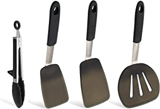 WYWHOM Silicone Turner Spatula Heat Resistant, BPA Free Silicone Spatulas Turners Set & Silicone Tong, Kitchen Utensils for Non-Stick Cookware Set of 4
