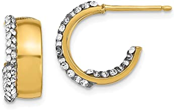 Solid 14k Yellow Gold Crystal By Swarovski CZ Cubic Zirconia Small J-Tube Hoop Earrings - 14mm x 14mm