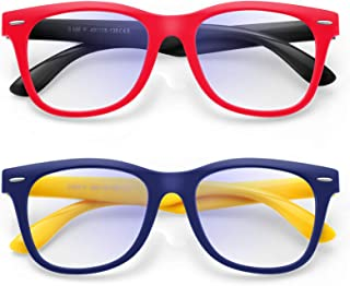 Zasun Kids Blue Light Blocking Glasses 2 Pack, UV Protection & Anti Eyestrain Computer Video Gaming Glasses for Kids Boys ...