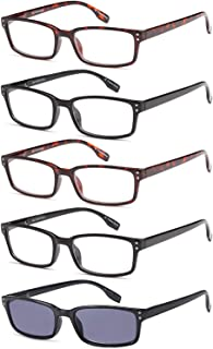 Gamma Ray Reading Glasses - 5 Pairs Readers for Men and Women - with Sun Readers