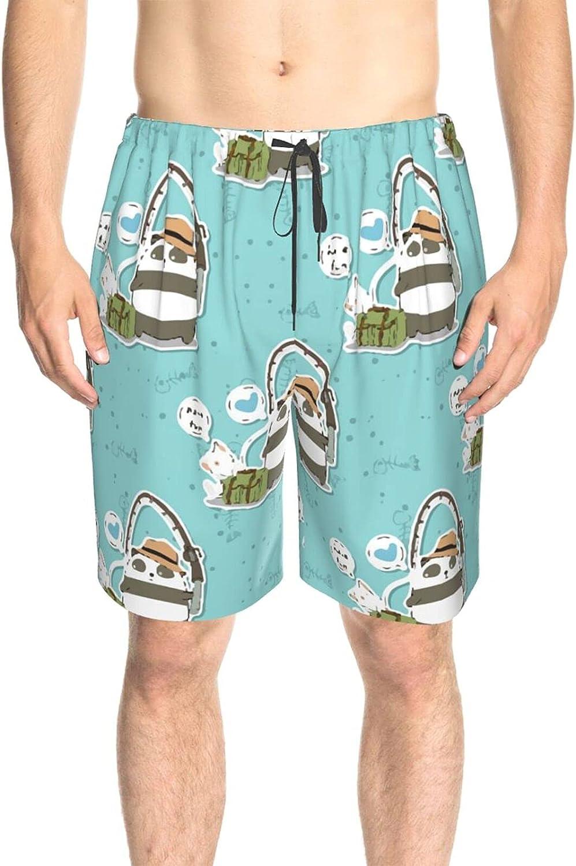 JINJUELS Men's Swim Trunks Cute Panda Fishing Swim Boardshorts Drawstring 3D Printed Board Shorts Swimwear with Liner
