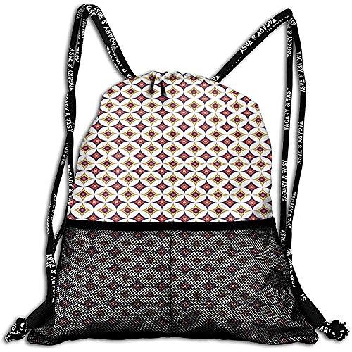 Mitta Yane Bolsas De Cuerdas,Bolsas De Mochilas con Cordón,Patrón De Mosaico Retro Étnico Balinés con Círculos Y Cuadrados,Ajustable