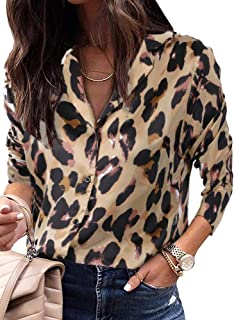 Imysty Womens Leopard Print V Neck Shirts Blouses Casual Long Sleeve Button Down Tunic Tops