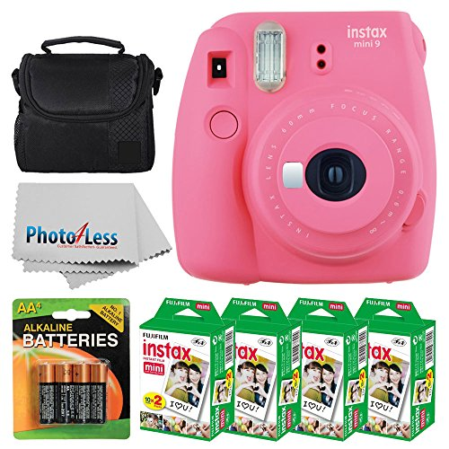 Fujifilm instax mini 9 Instant Film Camera (Flamingo Pink) + Fujifilm Instax Mini Twin Pack Instant Film (80 Shots) + Camera Case + AA Batteries + Accessory Bundle