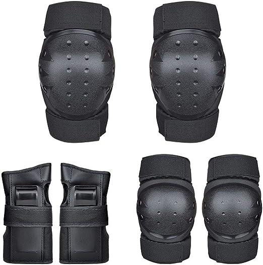 Protecciones Ni/ños Adulto Deportes Rodilleras para Equipo de Protecci/ón 6 en 1 Set Proteccion Protector de Muneca Coderas y Mu/ñequeras