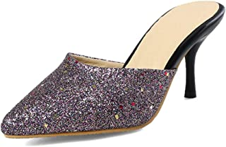 Judy Bacon Women's Fashion Slide Sandals - Sequins Closed Pointed Toe - Stilettos High Heels