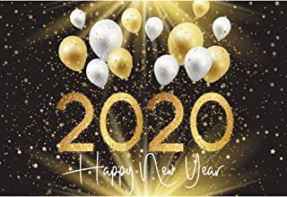 Haoyiyi 10x6.5ft New Year Christmas Eve Backdrop Gold White Latex Balloons Glitter Sequin Sparkle Dots Shinning Stars Spots Bling Bling Background Photography Photo Family Portraits Supplies