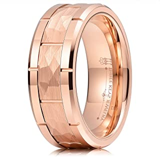 THREE KEYS JEWELRY 8mm Mens Hammered Tungsten Carbide Wedding Bands Unique Charming Engagement Rings
