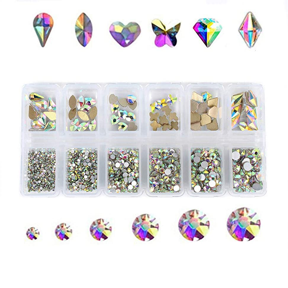 ジャンクション専門知識アクセスできないKingsie ネイル ラインストーン AB色 ガラス製 ファットバック クリスタル 3dネイルパーツ デコ素材 大粒 小粒 ミックスサイズ&形状 ケース入り