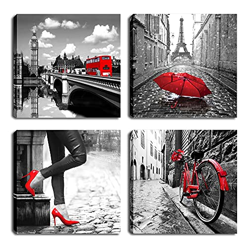 Black and White City Landmark Building Eiffel Tower Wall Art Canvas Print Red High Heels Girl Silhouette Girl Room Decoration Red Rose Bicycle Romantic Picture Bathroom Decoration 12x12 in x4 Panel