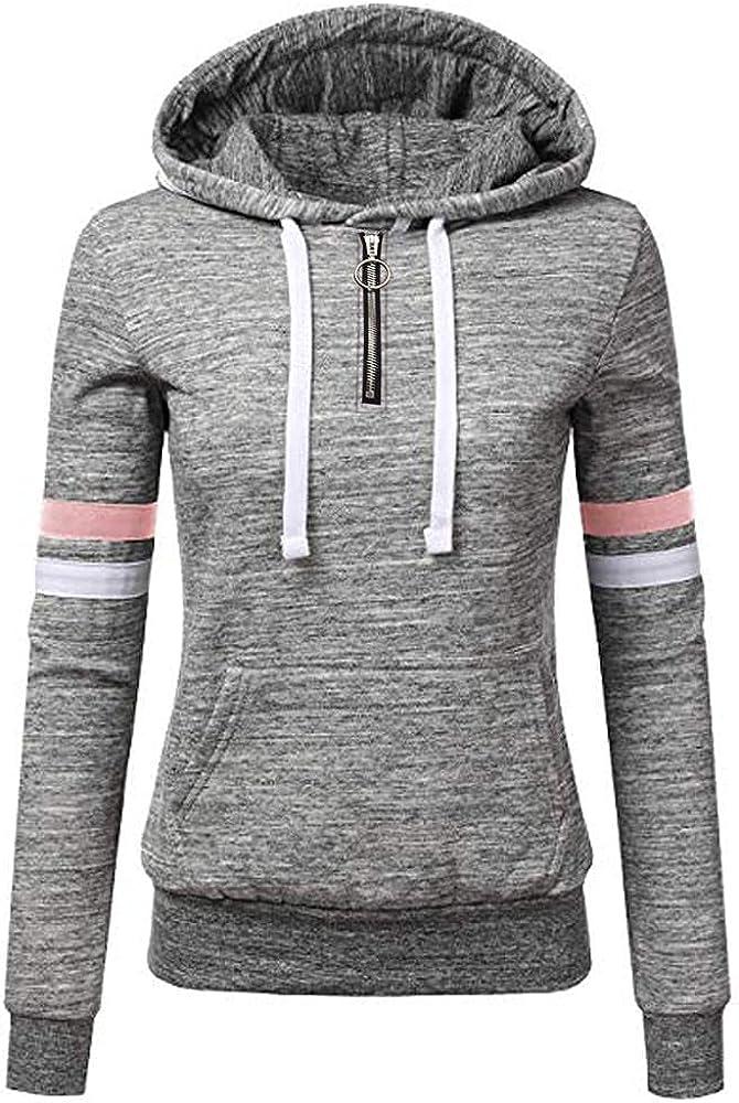 Hoodies For Women Pullover, Womens Zip Up Hoodie Long Sleeve Lightweight Sweatshirt Casual Knit Jacket Top With Pocket