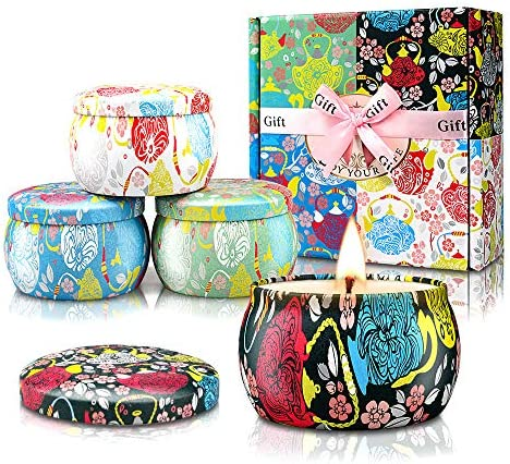 YMING Scented Candles Gift Set Gardenia jasmine French vanilla lavender 4X4 4Oz 120 Hours Natural product image