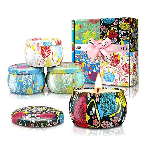 Candles for Home Scented Candle Gift Set 4 x4.4 oz 120h 8% Essential Oils Strong Fragrance Aromatherapy Long Burn Time Natural Soy Wax Portable Travel Tin for Stress Relief Bath Yoga