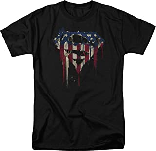 Popfunk Superman Logo S Shield American Flag Paint T Shirt & Exclusive Stickers