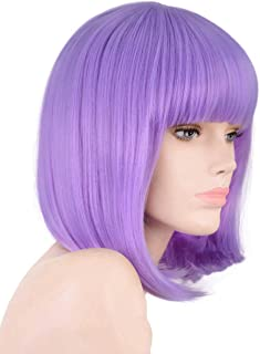 Annivia Lavender Purple Short Bob Wig for Women 12'' Heat Resistant Synthetic Straight Wigs with Bangs Halloween Cosplay Party Wig Natural As Real Hair Lavender Purple Wig for Women (Lavender Purple)