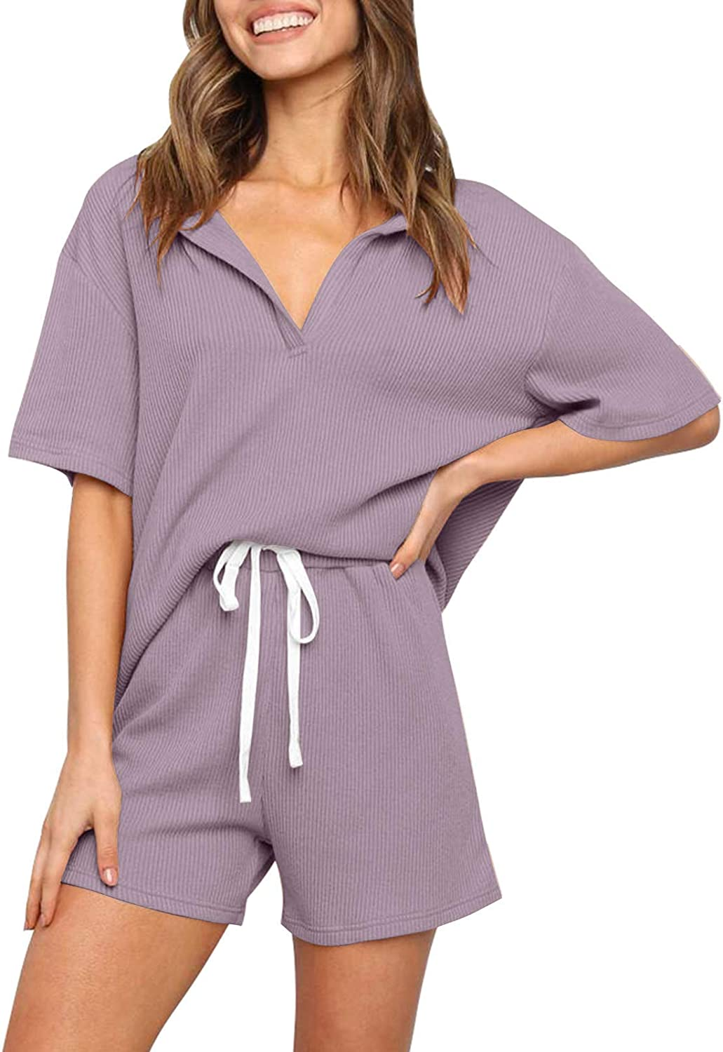 QANSI Women's Ribbed Knit Pajama Sets Short Sleeve Top and Shorts Two Piece Sleepwear Sweatsuit Outfits with Pockets