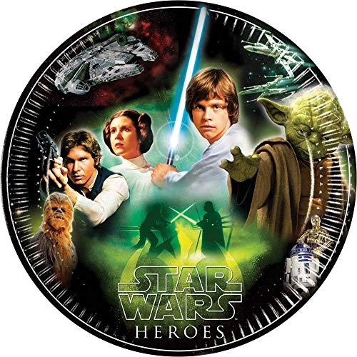 ALMACENESADAN 2557; Paquete de 8 Platos de cartón Disney Star Wars; Ideal para Fiestas y cumpleaños; diametro 23 cm