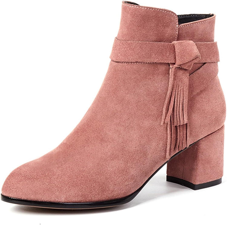 d7fd7aa7213bf Seven Nine Suede Cute Boots Ankle Tassel Handmade Zip Side Heel ...