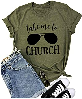 Take Me to Church Shirt Women Funny Letters Print Tee Country Music Casual Short Sleeve T Shirt Tops