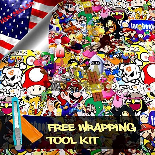 Free Tool Kit Mao JDM Bomber Anime Graffiti Cartoon Car Auto Laptop Vinyl Wrap Sticker Decal Film Sheet (5FT x 8FT)