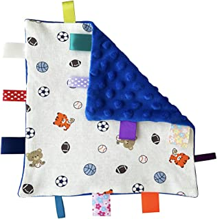 (Blue) - G-Tree Soft Touch Comforter Blanket with taggies. Taggie Comforter/Comfort Blanket. Great Gift. (Blue Sailboat Ta...