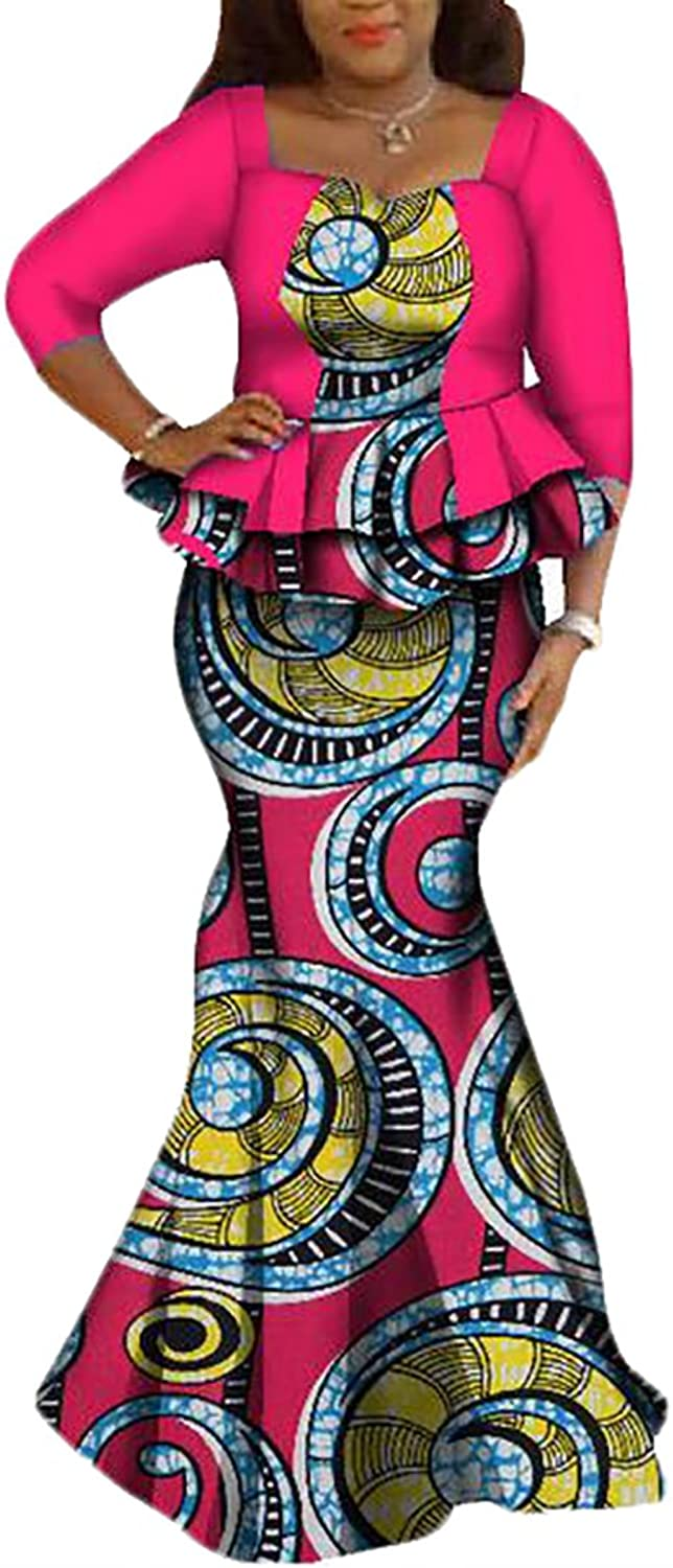 Esast Women's African Print Bodycon Maxi Dress Party