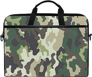 TropicalLife iRoad Laptoptasche aus Segeltuch, abstraktes Camouflage-Muster, Laptoptasche mit Schultergurt, Computertasche für Damen und Herren, Business 35,6 - 38,1 cm