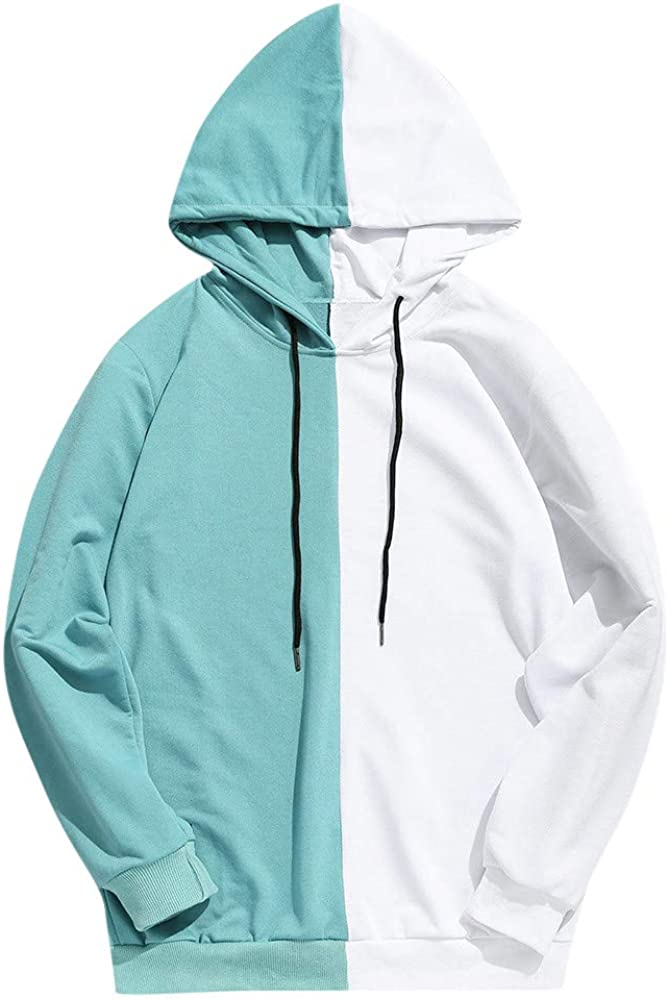 Sweatshirts for Men Stitching Color Athletic Sweatshirt Long Sleeve Drawstring Workout Pullover Cozy Gym Hooded