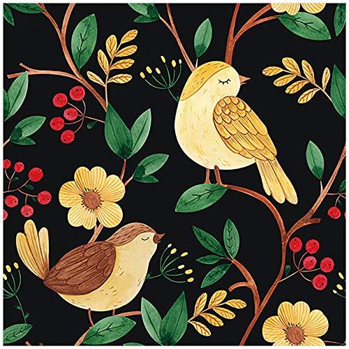 HaokHome 93057 Papel pintado para decorar el salón, dormitorio, 45 x 299 cm, diseño de pájaros florales, color negro y amarillo