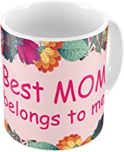 Indigifts Best Mom Belongs to Me Pink Coffee Mug for Women Birthday Presents for Mother, Stepmom - 11oz Novelty Coffee Cup