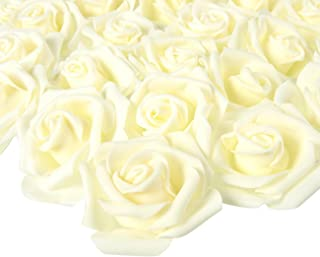 Juvale Rose Flower Heads Artificial Roses (Ivory, 3 x 1.25 x 3 in, 100 Pack)