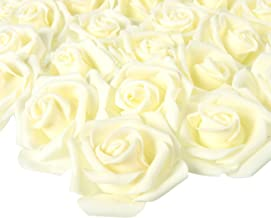 Juvale Rose Flower Heads - 100-Pack Artificial Roses, Perfect Wedding Decorations, Baby Showers, Crafts - Off White, 3 x 1.25 x 3 inches