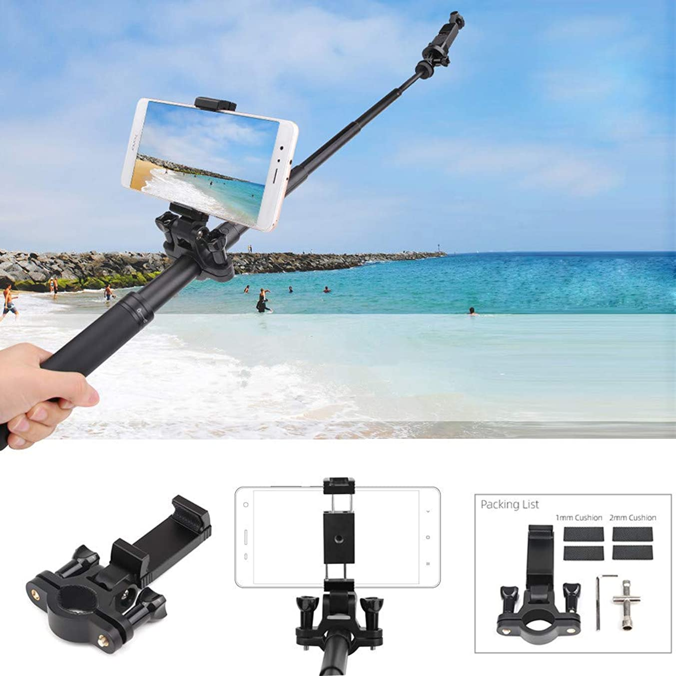 Solovley Smartphone Holder, Bluetooth Adapter Bracket On Extension Rod for DJI OSMO Pocket/ OSMO Action Camera