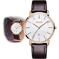 OLEVS Minimalist New Men's Ultra Thin Retro PU Leather Band Quartz Watches