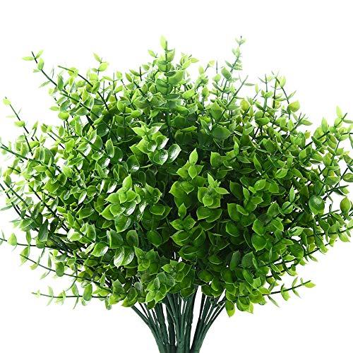 8 Bundles Artificial Grasses Outdoor Fake Grasses for Decoration UV Resistant No Fade Faux Plastic Plants Garden Porch Window Box Décor