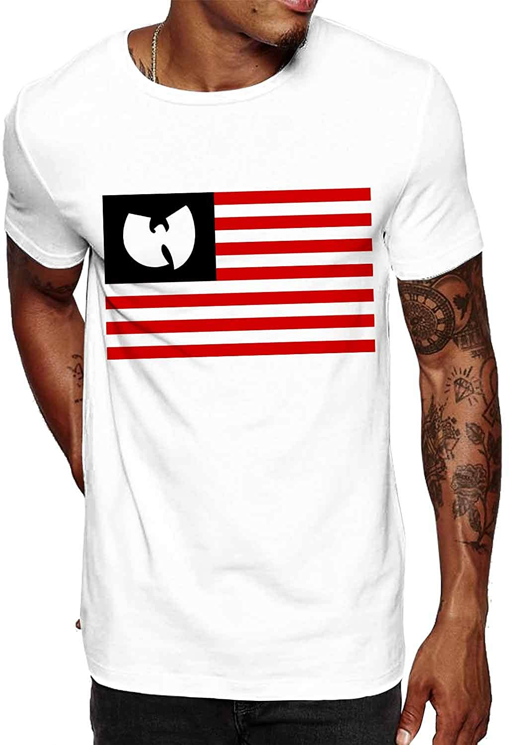 Swag Point USA Flag Graphic 100% Cotton Men's Vintage Short Sleeves T Shirts