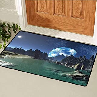RelaxBear Fantasy Inlet Outdoor Door mat Tranquil Futuristic View of Earth Rising from Alien Shores Sci Fi Theme Catch dust Snow and mud W15.7 x L23.6 Inch Dark Blue Jade Green