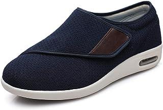 B/H Chaussons orthopédiques pour Homme,Chaussures de Marche élargies, Chaussures réglables par Velcro pour Les Personnes â...