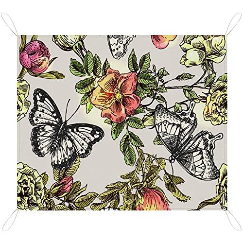 RETRUA Mantas de picnic impermeables con diseño de mariposa, de 200 x 145 cm, extra grande, alfombrilla de pícnic, manta de camping portátil para playa, parque, camping, senderismo