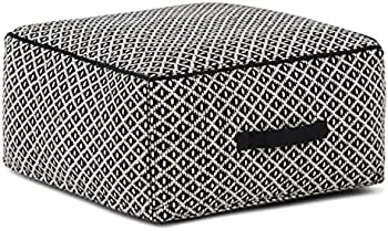 Simpli Home Olsen Transitional Square Pouf in Patterned Black