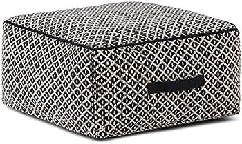 Simpli Home Olsen Transitional Square Pouf in Patterned Black