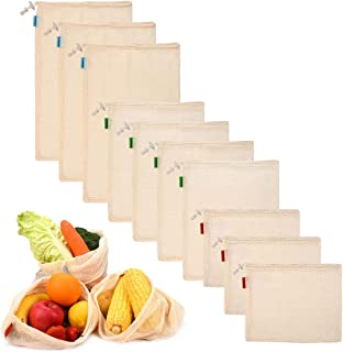 Philorn 10 Reutilizable Producir Bolsas 100% Algodón Bolsas de la Compra Reutilizables Bolsas de Malla para Fruta Vegetal ...