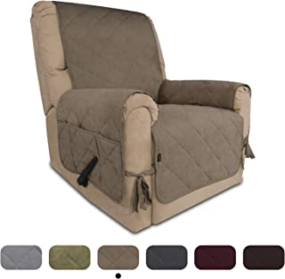 Easy-Going Micro Suede Sofa Slipcover Recliner Cover Couch Cover with Three Pockets Quilted Pets Covers Plastic Drop Printing Pets,Kids,Children,Dog,Cat (Recliner,Camel)
