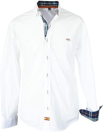 Pi2010 Camisa Bandera de España Hombre Blanco con Cuadro escoces, Fabricado en España