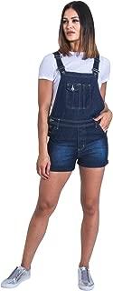 USKEES Ladies Denim Dungaree Shorts - Darkwash Bib-Shorts Overalls Shortalls