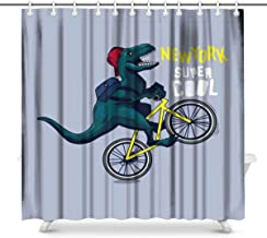 Cool Basketball Player Dinosaur Waterproof Shower Curtain Decor Fabric Bathroom Set with Hooks, 60(Wide) x 72(Height) Inch...