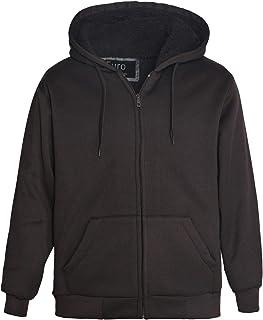 Erin Garments Heavyweight Sherpa Lined Fleece Hoodie Sweatshirts Men Winter Full Zip Plus Size Long Sleeve Jacket