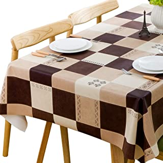 Chizoya Heavy Duty Vinyl Table Cloth for Rectangle Table Wipe Clean PVC Tablecloth for Kitchen Dining Table (54x84 inch, Lattice-1)